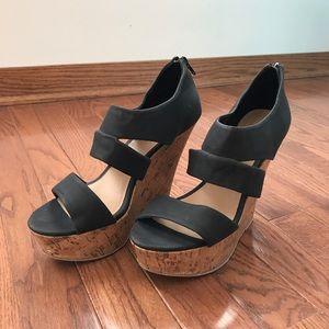 Just Fab Black wedge sandals
